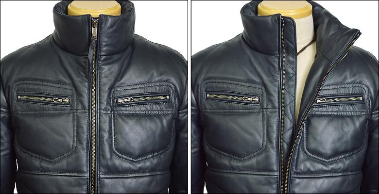 <p>ファスナーがレザーダウンジャケットのフェースをスタイリッシュに</p> <p>胸と袖のファスナースライダーはHarufleatherオリジナルマークを使用</p>  <p>リアルレザーの高級感とリアルダウンの暖かさが自慢のレザーダウンジャケット</p> <br><br><img src=